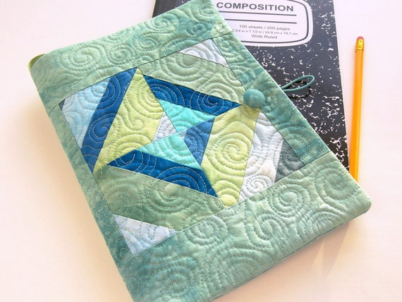 Quilted Journal, Fabric Composition Notebook Cover in Teal, Aqua, Cerulean Blue, and Moss Green - Back to School