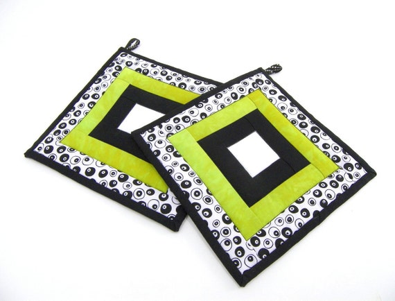 Quilted Pot Holders - Chartreuse Green, Black and White Fabric Hot Pads