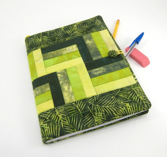 Quilted Composition Notebook, Fabric Journal Cover in Forest, Chartreuse, and Golden Green Hand Dyed Fabric