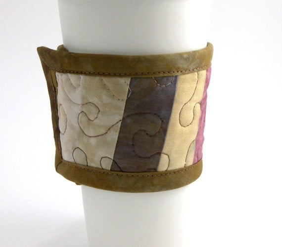 Quilted Cup Sleeve - Fabric Coffee Cozy, Cotton Cup Wrap in Earth Tone Hand Dyed Fabrics