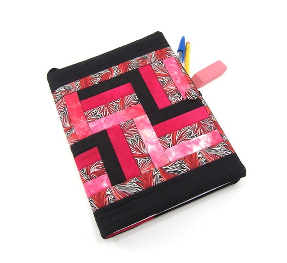 Fabric Journal Cover - Quilted Composition Notebook Cover in Red, Black, and White Rail Fence CIJ Christmas in July