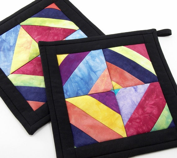 Quilted Pot Holders - Fabric Hot Pads in Colorful Hand Dyed, Strip Pieced Blocks with Black