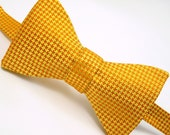 Silk Houndstooth Bow Tie, Orange and Gold - 'Bring Me Sunshine'