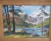 Vintage Framed Paint by Number Painting, Mountain Lake - Vintage Home and Travel Trailer Decor