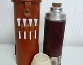 1910s GOLFERS Thermos and Leather Carrying Case with Holder for Golf Tees