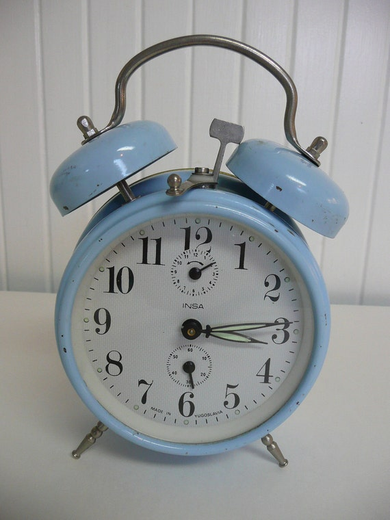 1960s Twin Bells Baby Blue Alarm Clock, Made in Yugoslavia, Wind Up Alarm, Free U S A  Shipping - Vintage Travel Trailer Decor