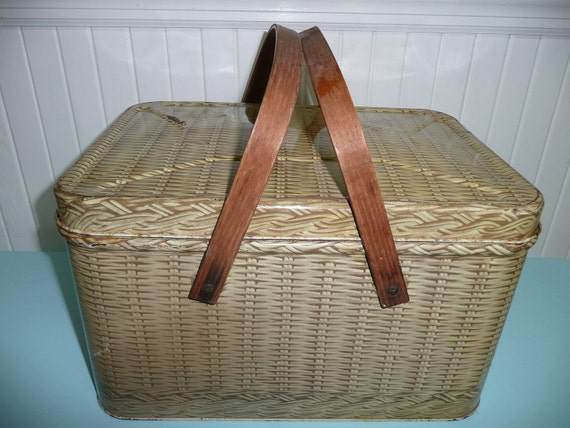 Vintage Tin Metal Picnic Basket with Wooden Handles - Vintage Travel Trailer Decor