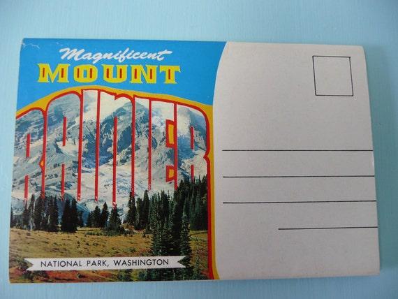 1950s Mt. Rainier Postcard Folder, Mt. Rainier National Park, Travel Souvenir, Linen - Vintage Travel Trailer Decor