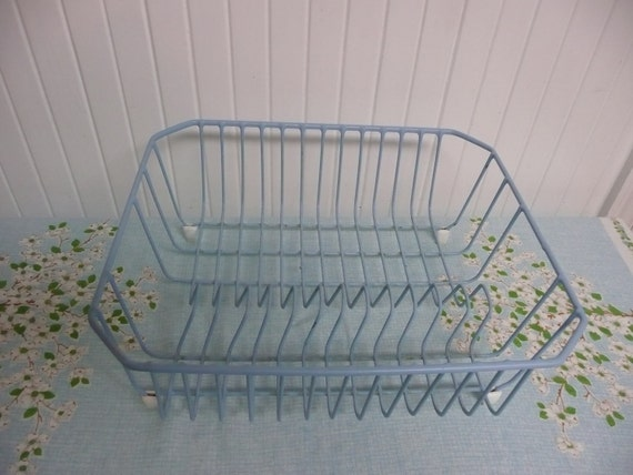 1960s Dish Drain Rack, Baby Blue, Shabby Chic Lovely - Perfect Vintage Travel Trailer Size