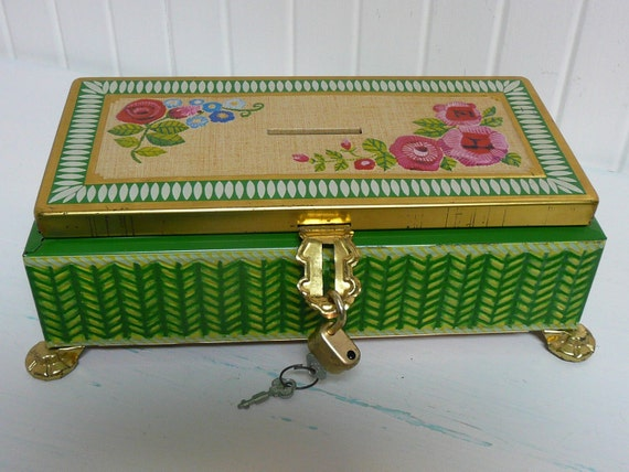 Vintage Lithographed Tin Box, Embossed Tin Bank with Lid, Padlock and Two Keys, from Fricke and Nacke, Western Germany