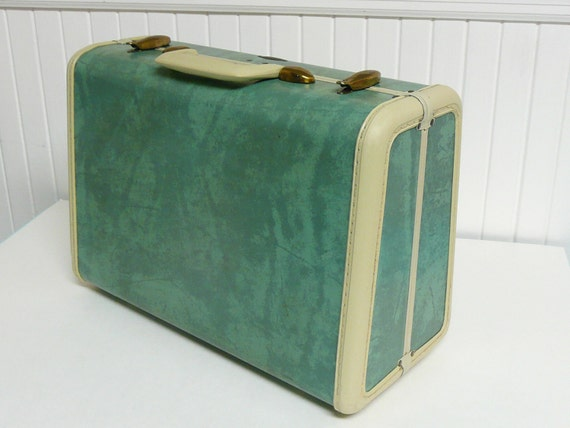 Vintage SMALL Bermuda Green Turquoise Marbled Samsonite Luggage Rectangular Suitcase - Vintage Travel Trailer and Home Decor