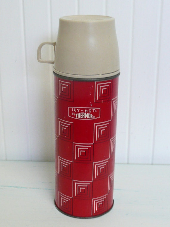 1963 Red Thermos Brand Picnic Camping Thermos, Two Cups  - Vintage Travel Trailer Decor