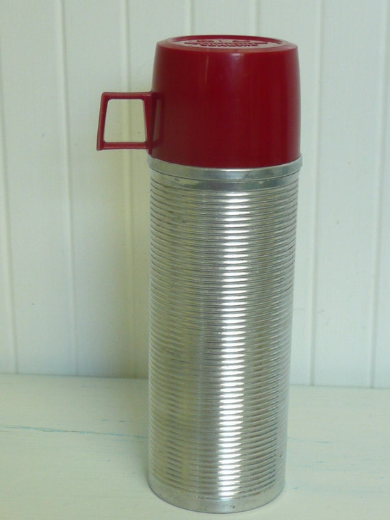 Shiny Vintage Ribbed Aluminum Thermos Brand Picnic Camping Thermos, Two Cups  - Vintage Travel Trailer Decor