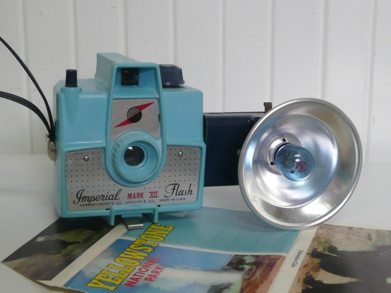 RESERVED 1960s Aqua TURQUOISE Bakelite Box Camera with Flash Unit, Imperial Mark XII, Collectible - Vintage Travel Trailer and Home Decor