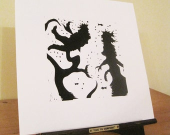 Silhouette Print - Beowulf Struggles with Grendel's Mother.