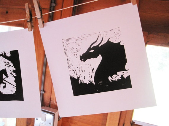 Silhouette Print - Beowulf Sea Monster