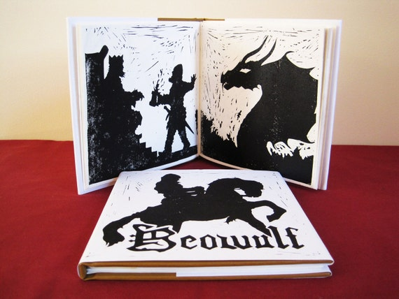 Beowulf - Illustrated Book Printed and Bound by Hand