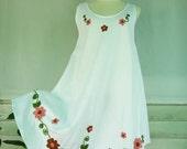 Fresh Flower Embroidered  White Dress