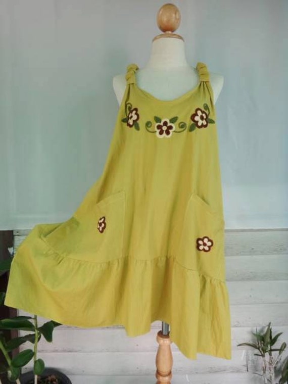 Tibetan Yellow  dress tunic  pockets  flower embroidered gather hem