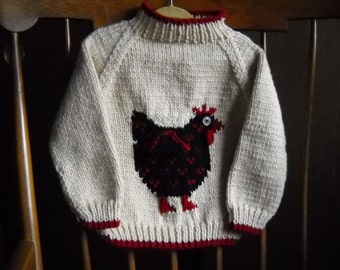 Handknit Chicken Motif Sweater