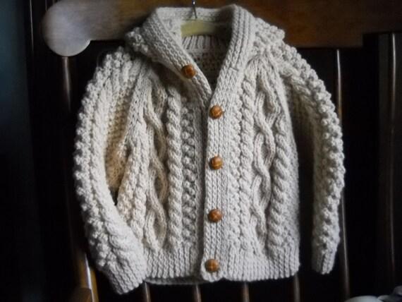 Baby Boy Irish Knit Hooded Sweater by CedarHillKnits on Etsy