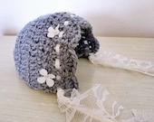 Crochet Floral Vintage Newborn Bonnet - Grey Ivory Baby Hat - Photography prop