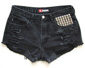 Vintage Black Silver Studded Shorts