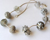 Handmade Lampwork Bead Necklace on Silver Chain - grey and white