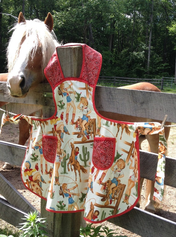 Retro PINUP COWGIRL Apron Sexy Vintage inspired Domestic Diva Apron - One size fits most