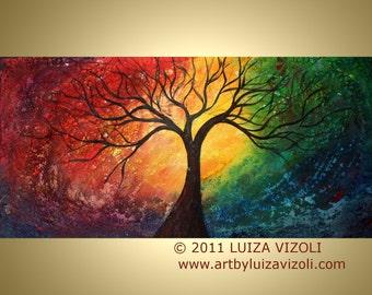 Large PRINT on Canvas Fantasy Tree Landscape Giclee 72x36 by Luiza Vizoli