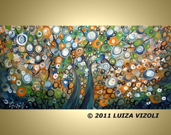 Abstract Large Print on Stretched Canvas BEST FRIENDS 48x24 Fantasy Landscape Trees Giclee by Luiza Vizoli