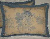 Set of Two Large Northfolk Rose Vintage Collection Exclusively by Waverly Sofa Pillows