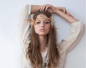 Gold & White Hippie Feather Goddess Headband