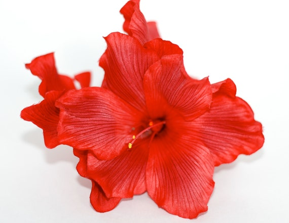 Three Large Red Gladioluses with Rhinestones Hair Clip