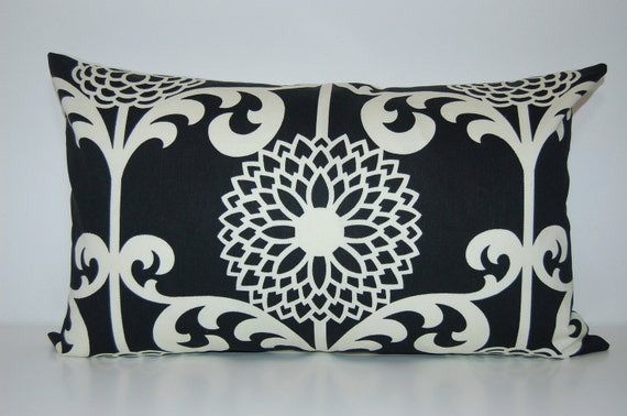 Modern 13x21 Vintage Inspired Black and White Pillow