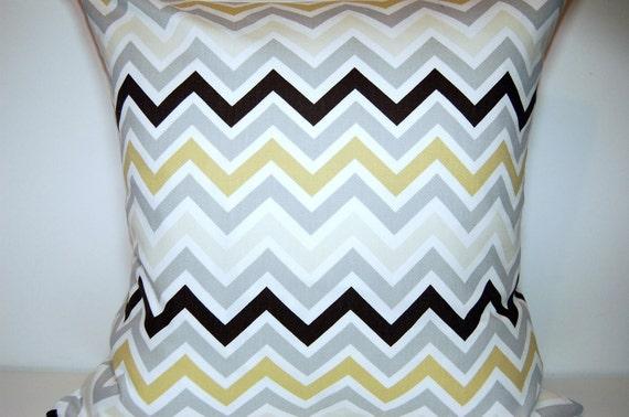 Pillow Grey Chevron Grey Yellow White Dark Brown 18 x18 Modern