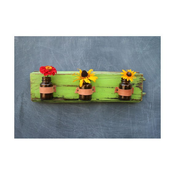 Bright Neon Green Rustic Wall Sconce. Three Bud Vases.