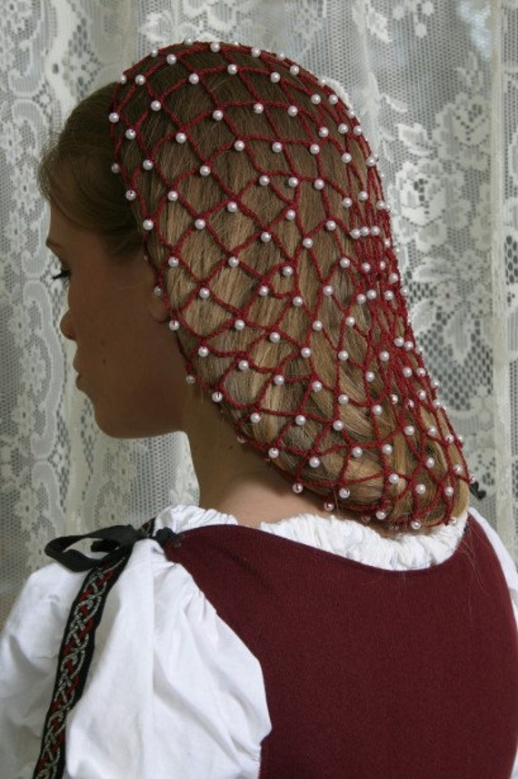 Burgundy 6mm Pearl Beads Net Style Hand Made Hair By
