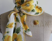 A Happy Yellow Poppy Silk Scarf and a Basket of Flowers Brooch