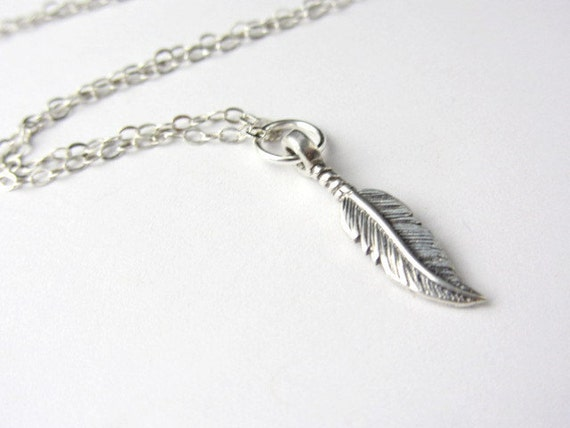 Sterling Silver Feather Necklace,dainty, modern, milimalist