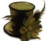 Burlesque Gothic Steampunk Victorian Showgirl Moulin Rogue Mini Top Hat Olive Green
