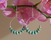 Sterling silver chunky turquoise hoop earrings with hill tribe beads