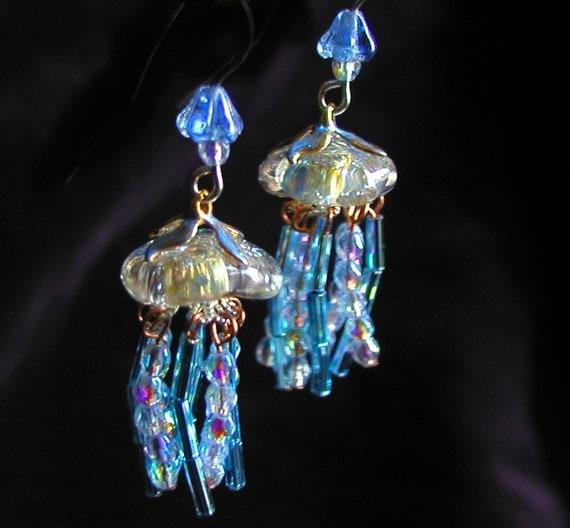 Fabulous Iridescent TINY BLUE GLEAMING Jellyfish Earrings