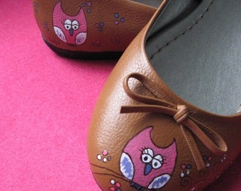 Yoshi The Owl Hand-Painted Shoes - Made to order