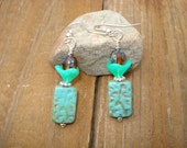 Czech Glass Turquoise Earrings -  Grooved Rectangle Bead Earrings