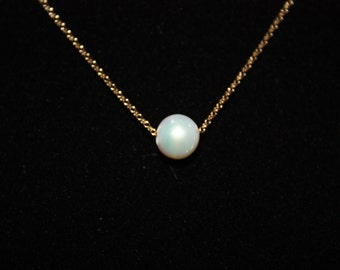 SOLITARY REFINEMENT - single pearl necklace gold filled chain 14kt - version 1