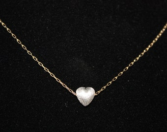 LOVE ME DO - sterling silver brushed heart on 14kt gold filled chain necklace
