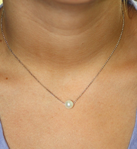 SOLITARY REFINEMENT - version 2- sterling silver single pearl necklace