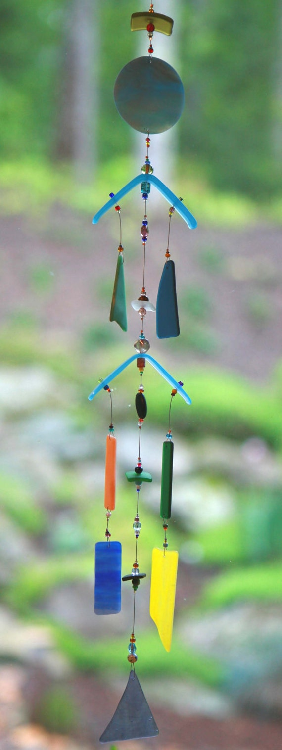 "Blue Moon Recycled Beach Glass Wind Chime ""One of a Kind"" FREE SHIPPING"