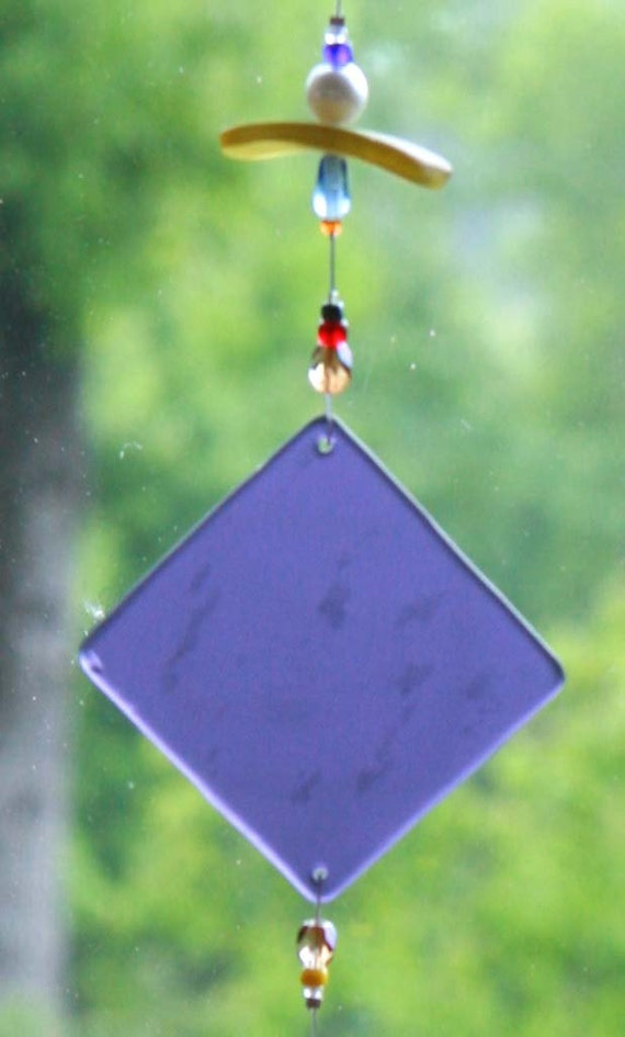 "PURPLE DIAMOND, Recycled Beach Glass Wind Chime ""One of a Kind"" Sun Catcher, Stained Glass, Sea Glass, WindChimes"